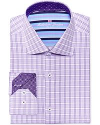 Michelsons Of London - Of London Men's Slim-fit Lilac Check Dress Shirt - Lyst