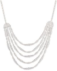 Carolee - Silver-tone Cubic Zirconia Multi-row Statement Necklace - Lyst