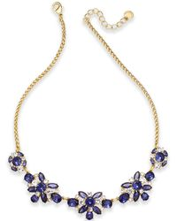Charter Club - Gold-tone Crystal & Blue Stone Collar Necklace - Lyst