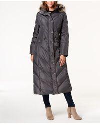 """London Fog - Maxi 49"""" Down With Faux Fur Trim Hood - Lyst"""