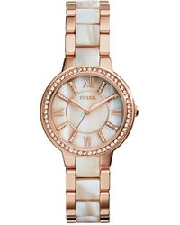 Fossil - Women's Virginia Shimmer Horn And Rose Gold-tone Stainless Steel Bracelet Watch 30mm Es3716 - Lyst