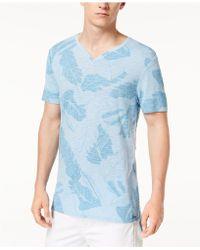 Guess - Split-neck Leaf-print T-shirt - Lyst