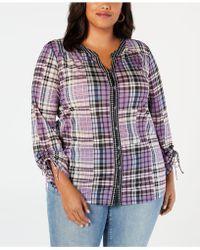 Style & Co. - Plus Size Patchwork Plaid Split-neckline Shirt, Created For Macy's - Lyst