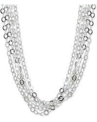 """Giani Bernini - Interlocking Circle Link Multi-strand 18"""" Statement Necklace In Sterling Silver, Created For Macy's - Lyst"""