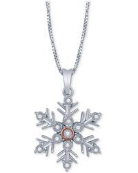 Macy's - Diamond Accent Snowflake Pendant Necklace In Sterling Silver & 14k Rose Gold - Lyst