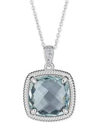 Macy's - Blue Topaz (10 Ct. T.w.) & Diamond Accent Necklace In Sterling Silver - Lyst