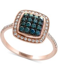 Effy Collection - Diamond Cluster Halo Ring (3/8 Ct. T.w.) In 14k Rose Gold - Lyst