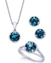 Macy's - London Blue Topaz Rope-style Pendant Necklace, Stud Earrings And Ring Set (5 Ct. T.w.) In Sterling Silver - Lyst