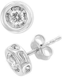 Effy Collection - Effy® Diamond Bezel Stud Earrings (3/8 Ct. T.w.) In 14k White Gold - Lyst