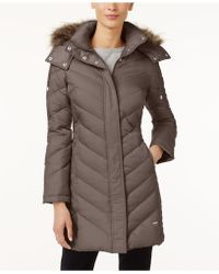 Kenneth Cole - Faux-fur-trim Down Chevron Puffer Coat - Lyst