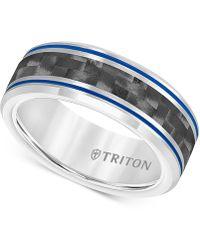 Macy's - Men's Blue Stripe Carbon Fibre Band In Tungsten Carbide - Lyst