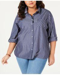 149b3c05ec336 Lyst - Tommy Hilfiger Plus Size Cotton Plaid Tab-sleeve Shirt ...