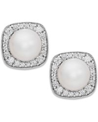 Macy's | Cultured Freshwater Pearl (6mm) And Diamond (1/4 Ct. T.w.) Stud Earrings In 14k White Gold | Lyst