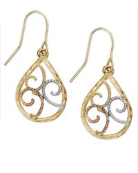 Macy's - 10k Tri-tone Gold Earrings, Filigree Earrings - Lyst