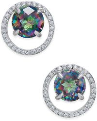 Macy's - Mystic Topaz (1-3/4 Ct. T.w.) And Diamond (1/6 Ct. T.w.) Circle Stud Earrings In Sterling Silver - Lyst