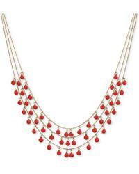 "Anne Klein - Shaky Stone Triple-row Collar Necklace, 17"" + 3"" Extender - Lyst"
