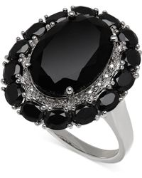 Macy's - Onyx (20-4/5 Ct. T.w.) And Diamond Accent Ring In Sterling Silver - Lyst