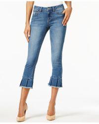 Earl Jean - Cropped Pleated-hem Skinny Jeans - Lyst