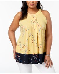 Charter Club - Plus Size Printed Colorblocked Halter Top, Created For Macy's - Lyst