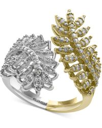 Effy Collection - Diamond Feather Bypass Ring (3/4 Ct. T.w.) In 14k Two-tone Gold - Lyst
