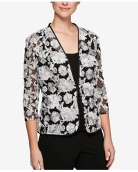 Alex Evenings - Petite Printed Embroidered-mesh Jacket & Shell - Lyst