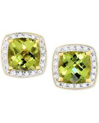 Macy's - Peridot (3 Ct. T.w.) & Diamond (1/6 Ct. T.w.) Halo Stud Earrings In 14k Gold - Lyst