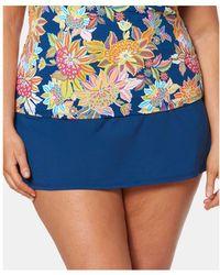 491916e0bf0 Lyst - Island Escape Plus Size Side-tie Swim Skirt in Blue