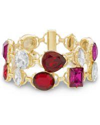 Catherine Malandrino - Red, White And Hot Pink Rhinestone 2-row Yellow Gold-tone Link Bracelet - Lyst