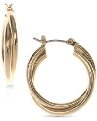 Nine West | Silver-tone Twisted Hoop Earrings | Lyst