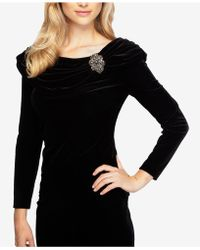 59c0f96c6a81ad Lyst - Alex Evenings Embellished Printed Peplum Blouse in Black