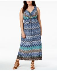 R & M Richards - Plus Size Embellished Printed Maxi Dress - Lyst