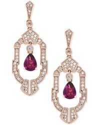 Effy Collection | Rhodolite Garnet (1-1/2 Ct. T.w.) And Diamond (1/2 Ct. T.w.) Earrings In 14k Rose Gold | Lyst