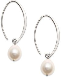 Macy's - Sterling Silver Earrings, Cultured Freshwater Pearl Sweep Drop Earrings - Lyst