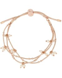 BCBGeneration - Pearl Silver Delicate Multi Row Adjustable Pulley Bracelet - Lyst
