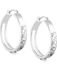 Guess - Crystal Logo Hoop Earrings - Lyst