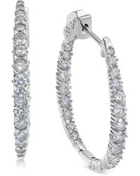 Macy's - Diamond In & Out Oval Hoop Earrings (2 Ct. T.w.) In 14k White Gold - Lyst