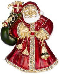 Charter Club - Gold-tone Crystal & Epoxy Santa Claus Pin, Created For Macy's - Lyst