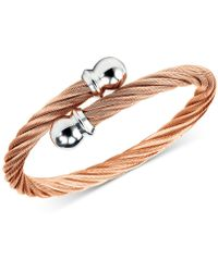 Charriol - Twisted Cable Bypass Bracelet In Rose Gold-plated Stainless Steel - Lyst