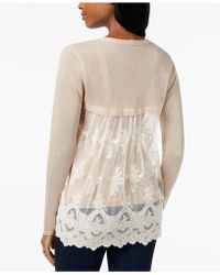 Style & Co. - Lace-back Pointelle Cardigan, Created For Macy's - Lyst