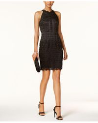 Adrianna Papell - Guipere Lace Halter Dress - Lyst