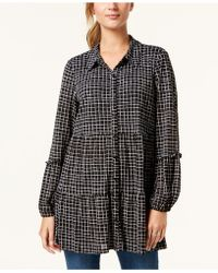Style & Co. - Printed Tiered Button-down Top, Created For Macy's - Lyst