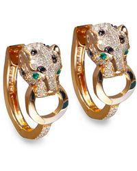 Effy Collection | Black And White Diamond (3/4 Ct. T.w.) And Emerald Accent Panther Hoop Earrings In 14k Rose Gold | Lyst