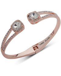 Anne Klein - Crystal & Pavé Hinged Bangle Bracelet, Created For Macy's - Lyst