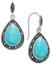 Macy's - Manufactured Turquoise & Marcasite Teardrop Drop Earrings In Silver-plate - Lyst