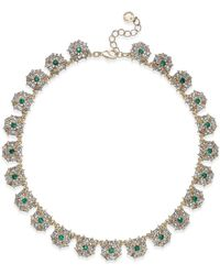 Charter Club - Gold-tone Blue & Clear Crystal Necklace - Lyst