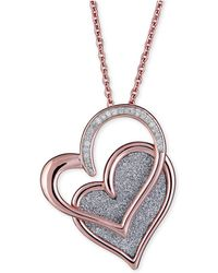 """Macy's - Diamond Glitter Double Heart 18"""" Pendant Necklace (1/8 Ct. T.w.) In 14k Rose Gold-plated Sterling Silver - Lyst"""