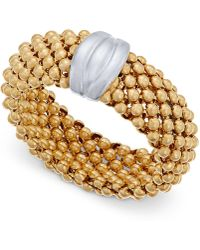 Macy's - Two-tone Mesh Ring In Sterling Silver And 14k Gold-plated Sterling Silver - Lyst