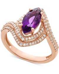 Macy's - Amethyst (1-1/2 Ct. T.w.) & Diamond (1/2 Ct. T.w.) Marquise Statement Ring In 14k Rose Gold - Lyst