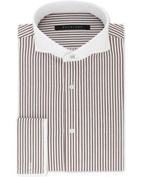 Sean John - Classic/regular Fit Brown And White Stripe French Cuff Dress Shirt - Lyst
