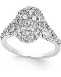 Macy's - Diamond Cluster Halo Engagement Ring (1 Ct. T.w.) In 14k White Gold - Lyst